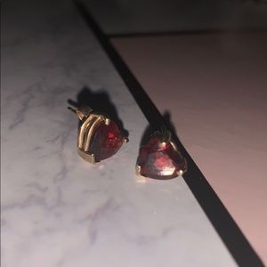 Garnet Gold Stud Earrings